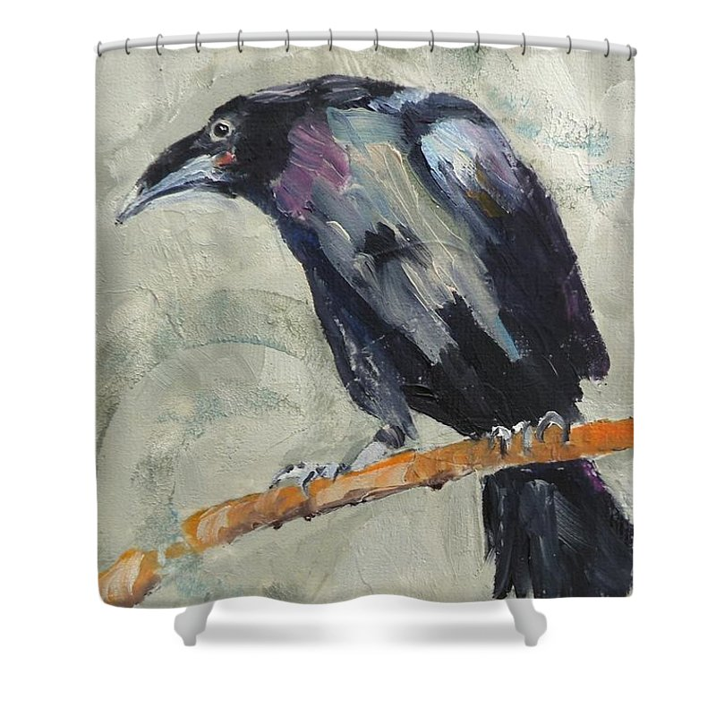 Ravens Shower Curtain featuring the painting Raven by Saundra Lane Galloway