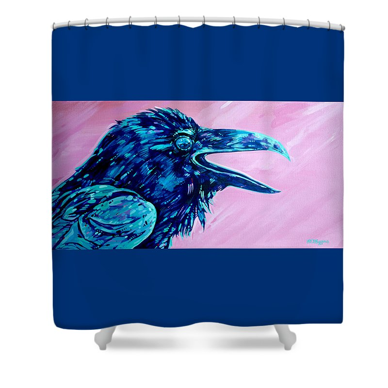 Raven Shower Curtain featuring the painting Raven Song by Derrick Higgins