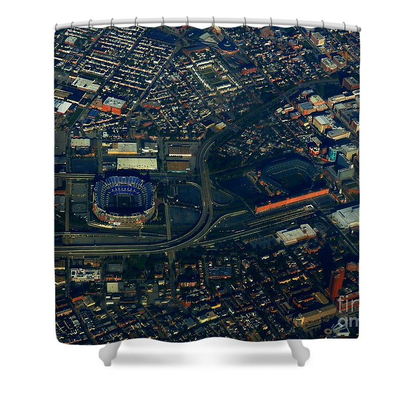 Baltimore Shower Curtain featuring the photograph Ravens Stadium And Camden Yards by Rrrose Pix