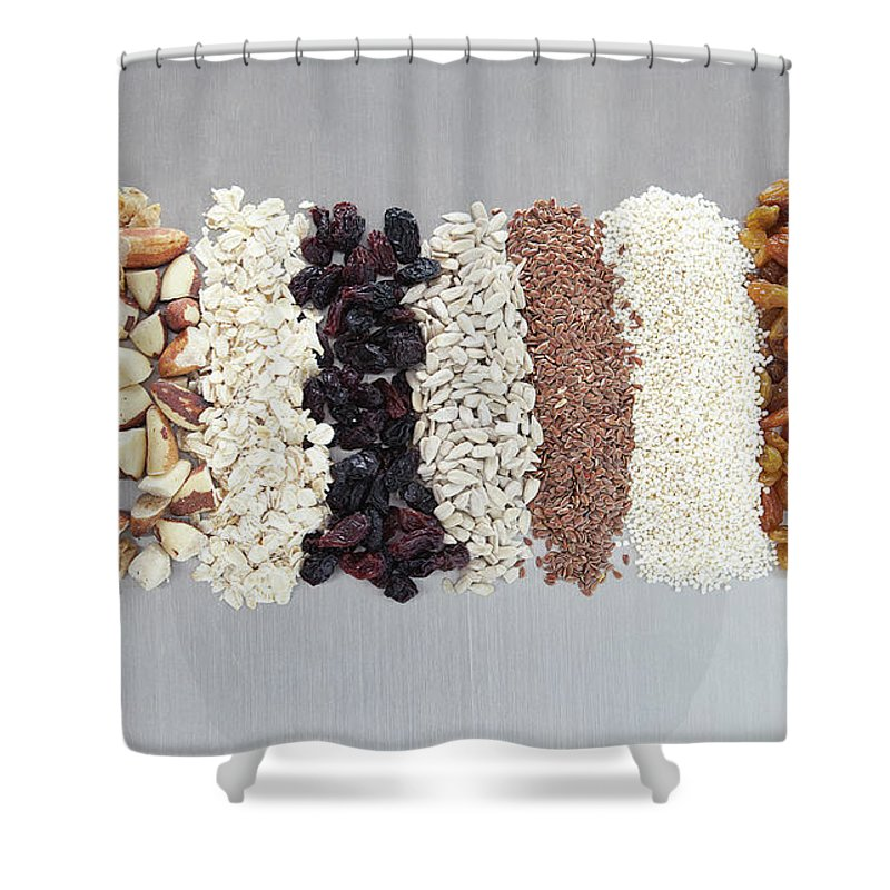 Nut Shower Curtain featuring the photograph Raw Nuts, Dried Fruit And Grains by Laurie Castelli