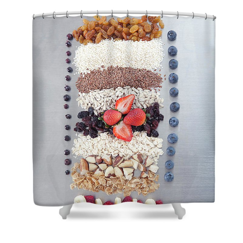 Nut Shower Curtain featuring the photograph Raw Nuts, Fruit And Grains by Laurie Castelli