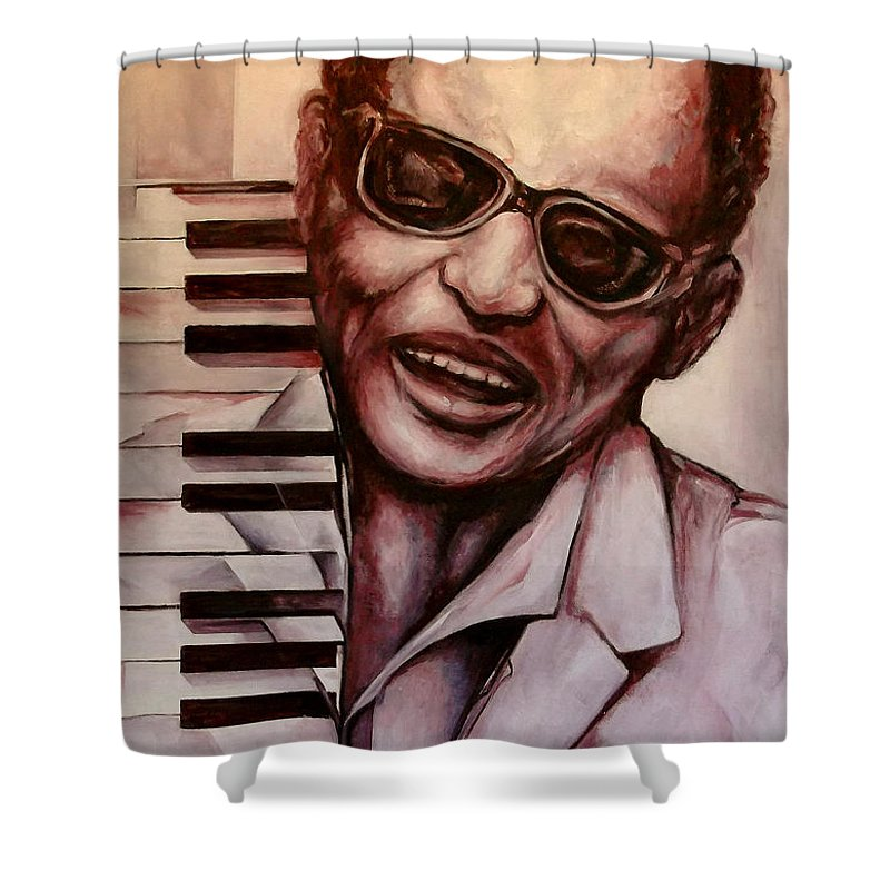 Original Fine Art By Lloyd Deberry Shower Curtain featuring the painting Ray The Print by Lloyd DeBerry