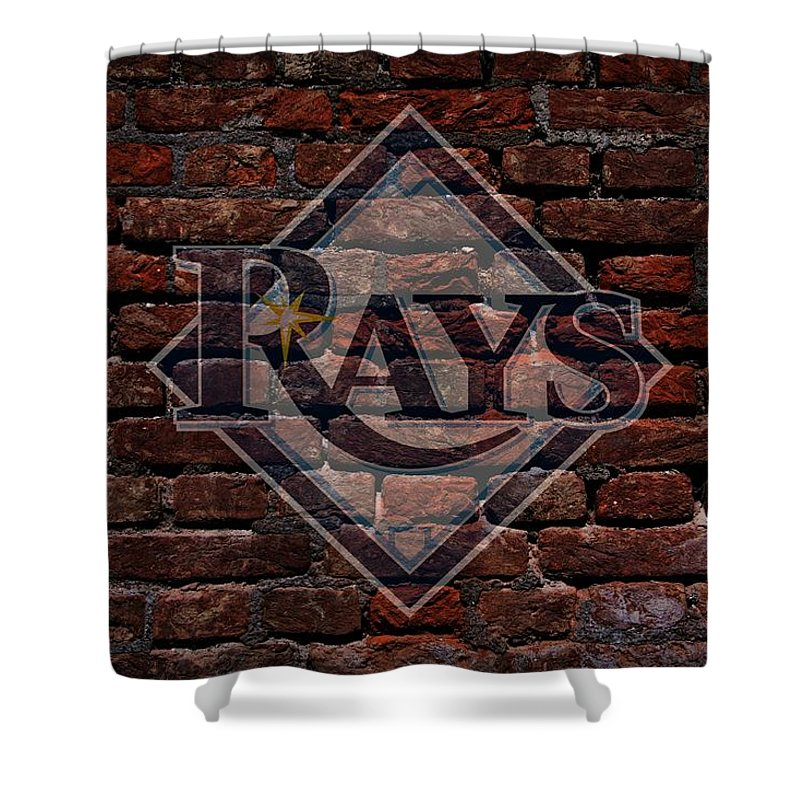 Baseball Shower Curtain Featuring The Photograph Rays Graffiti On Brick By Movie Poster Prints