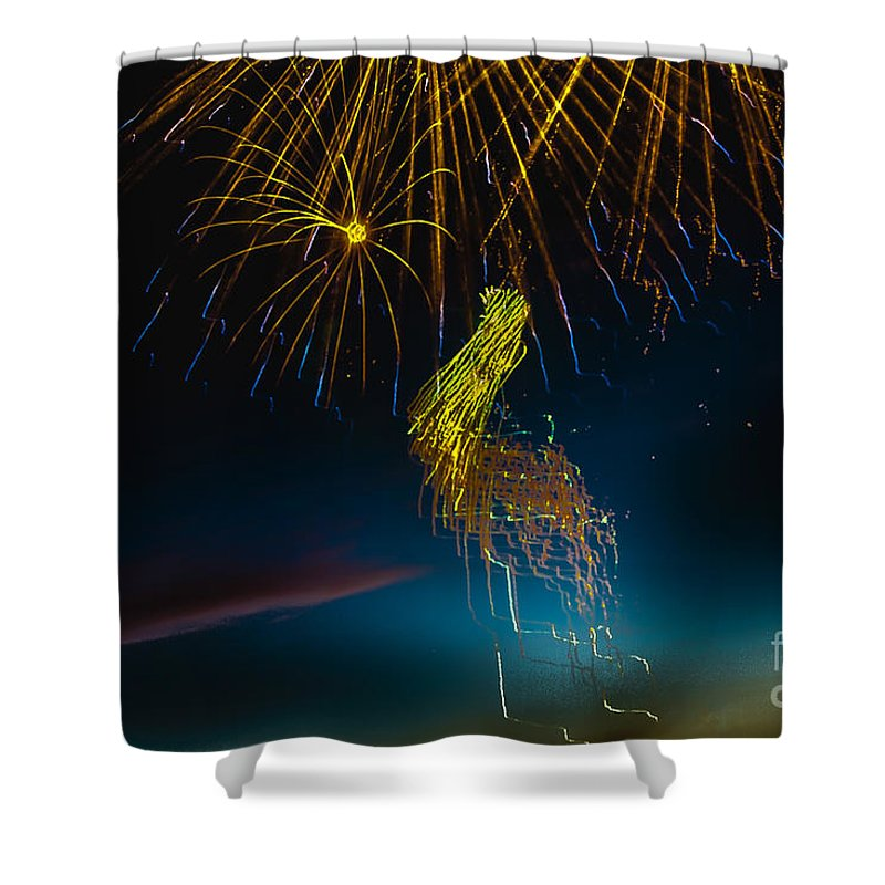 Fireworks Shower Curtain featuring the photograph Rays Of Light From Above by Robert Bales