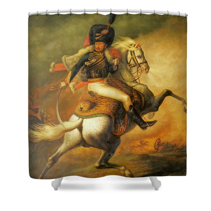 Art Shower Curtain featuring the painting Re Classic Oil Painting General On Canvas#16-2-5-08 by Hongtao   Huang