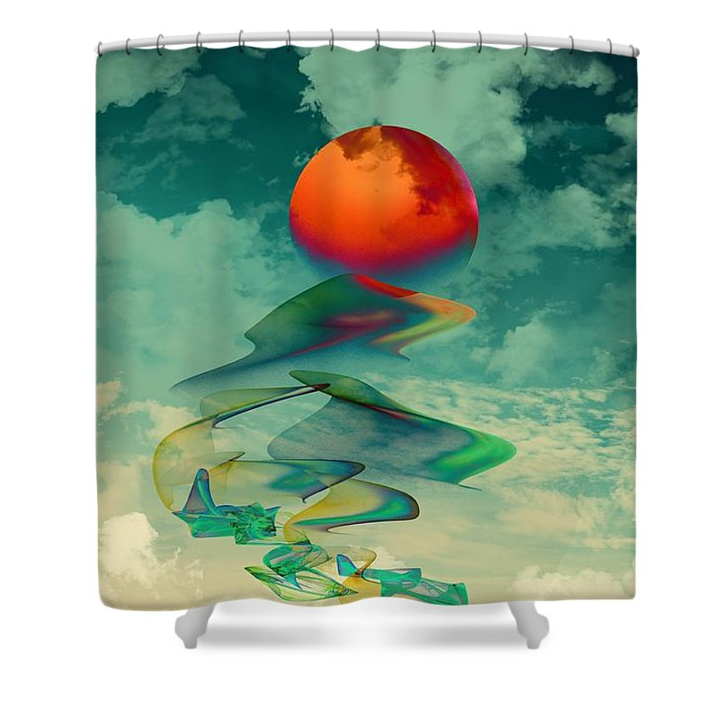 Abstract Shower Curtain featuring the digital art Reach The Sun by Klara Acel