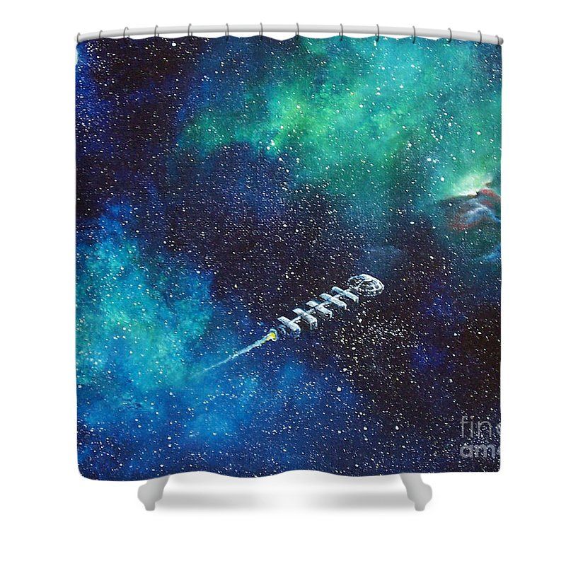 Spacescape Shower Curtain featuring the painting Reaching Out by Murphy Elliott