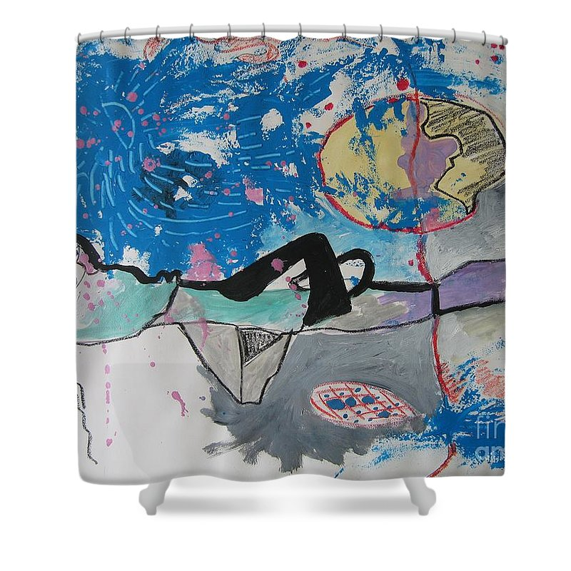 Abstract Paintings Shower Curtain featuring the painting Read My Mind2 by Seon-Jeong Kim