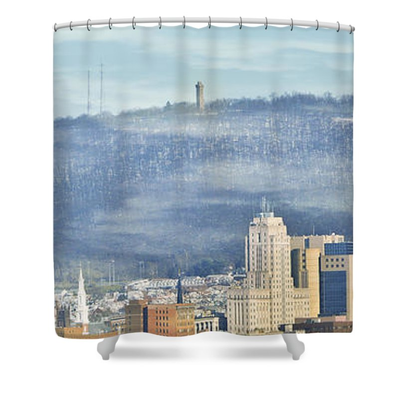 Reading Shower Curtain featuring the photograph Reading Skyline by Trish Tritz