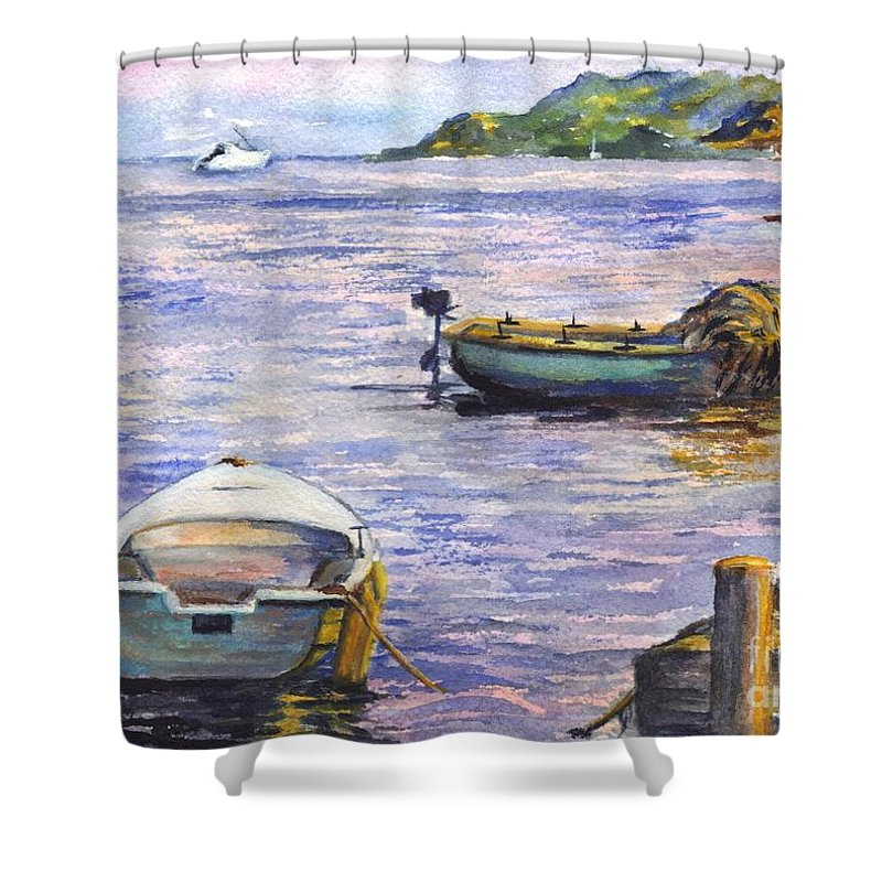 Boats Shower Curtain featuring the painting Ready For A Sunset Row by Carol Wisniewski