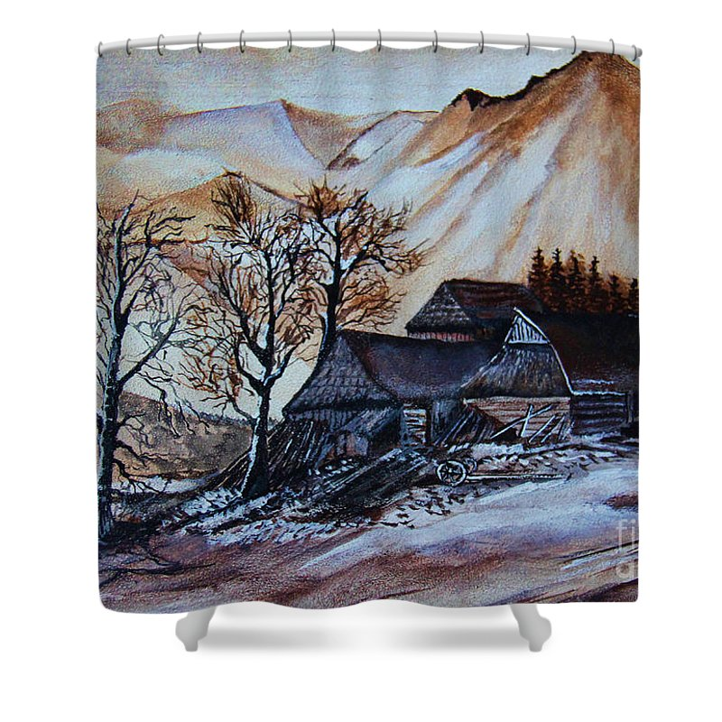 Ready For Winter Shower Curtain featuring the painting Ready For Winter by Ryszard Sleczka