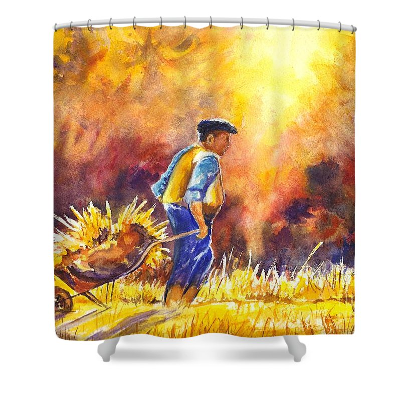 Field Worker Shower Curtain featuring the painting Reaping The Seasons Harvest by Carol Wisniewski