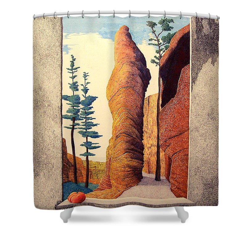 Landscape Shower Curtain featuring the painting Reared Window by A Robert Malcom