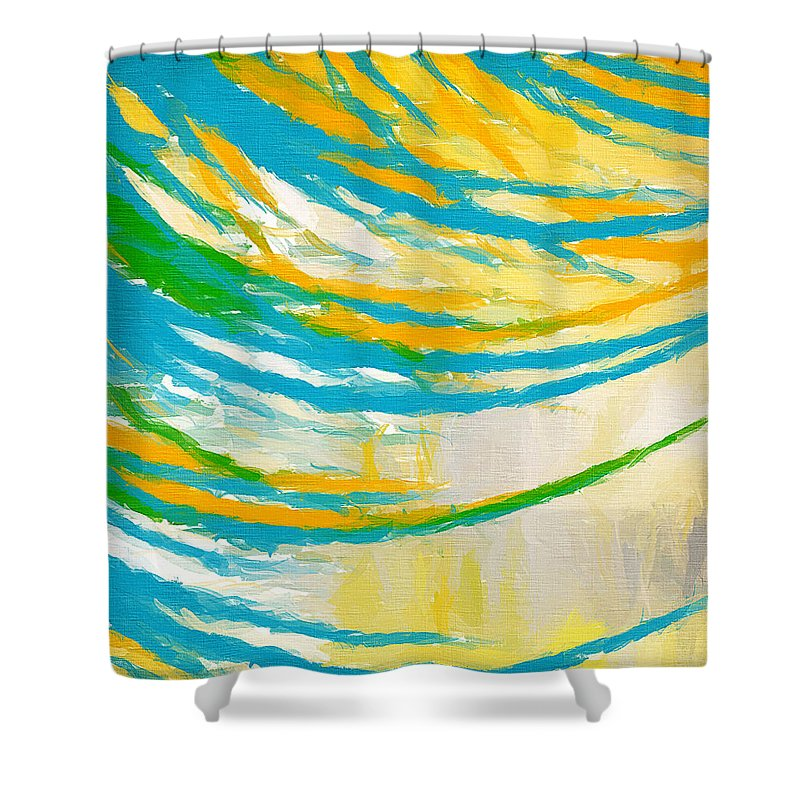 Yellow Shower Curtain featuring the painting Rebirth by Lourry Legarde