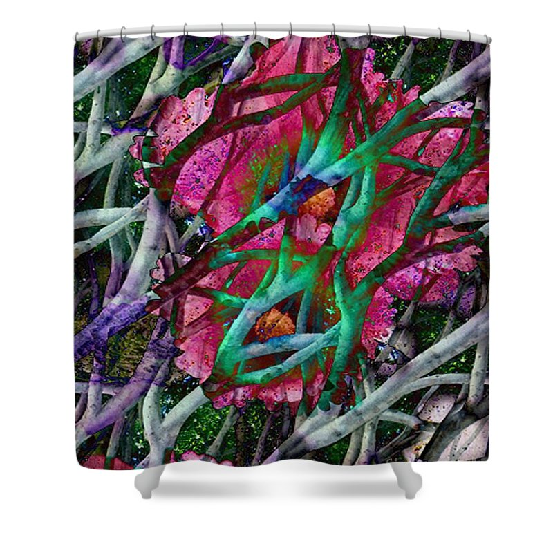 Abstract Shower Curtain featuring the digital art Rebirth by Yael VanGruber