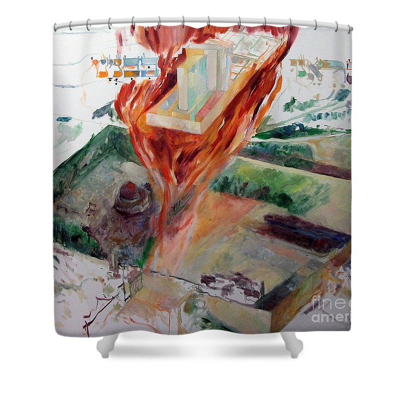 Shower Curtain featuring the painting Rebuilding 3 by David Baruch Wolk