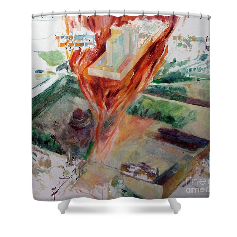 Shower Curtain featuring the painting Rebuilding 4 by David Baruch Wolk