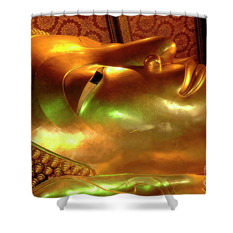 Buddha Shower Curtain featuring the photograph Reclining Buddha 1 by Bob Christopher