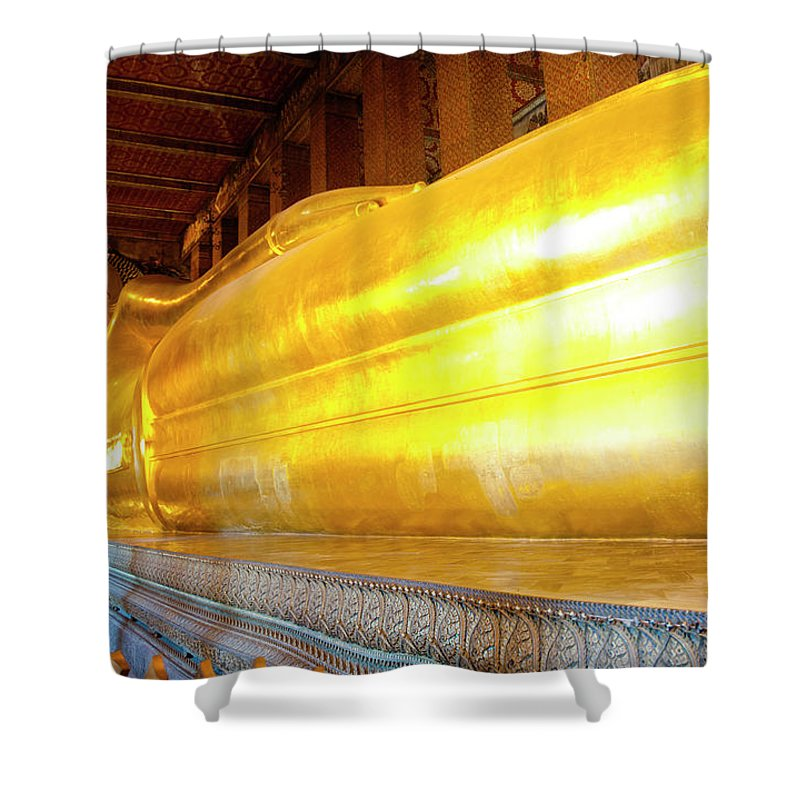 Statue Shower Curtain featuring the photograph Reclining Buddha, Wat Pho by Leontura