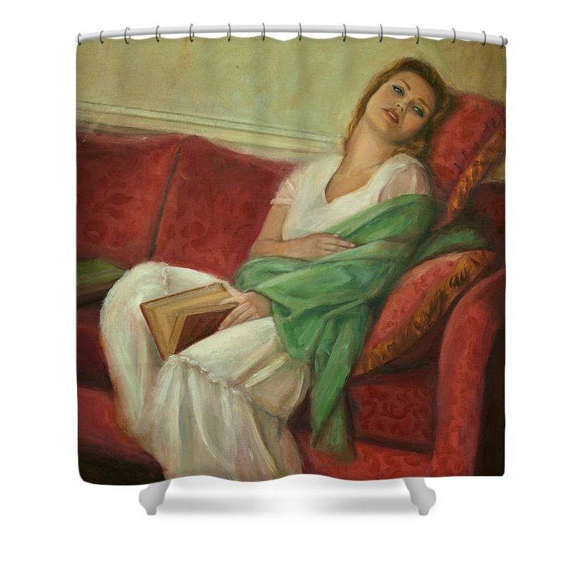 Young Girl Shower Curtain featuring the painting Reclining With Book by Sarah Parks