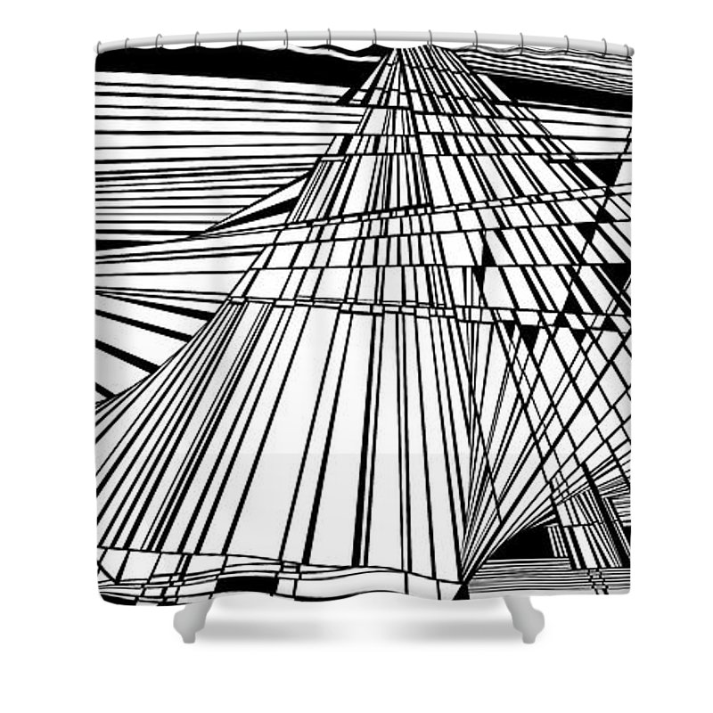 Dynamic Black And White Shower Curtain featuring the painting Recovery by Douglas Christian Larsen