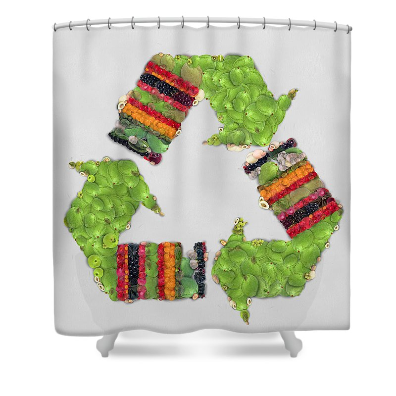 Object Shower Curtain Featuring The Painting Recycle Sign Fruits And Vegetables Art By Eti Reid