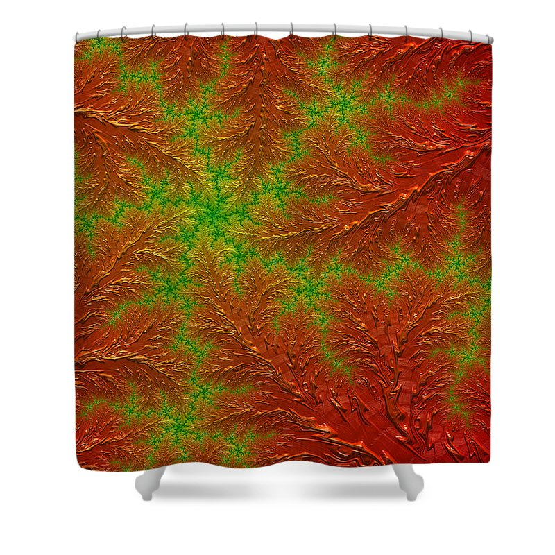 Red Shower Curtain featuring the digital art Red And Green Digital Fractal Artwork by Matthias Hauser