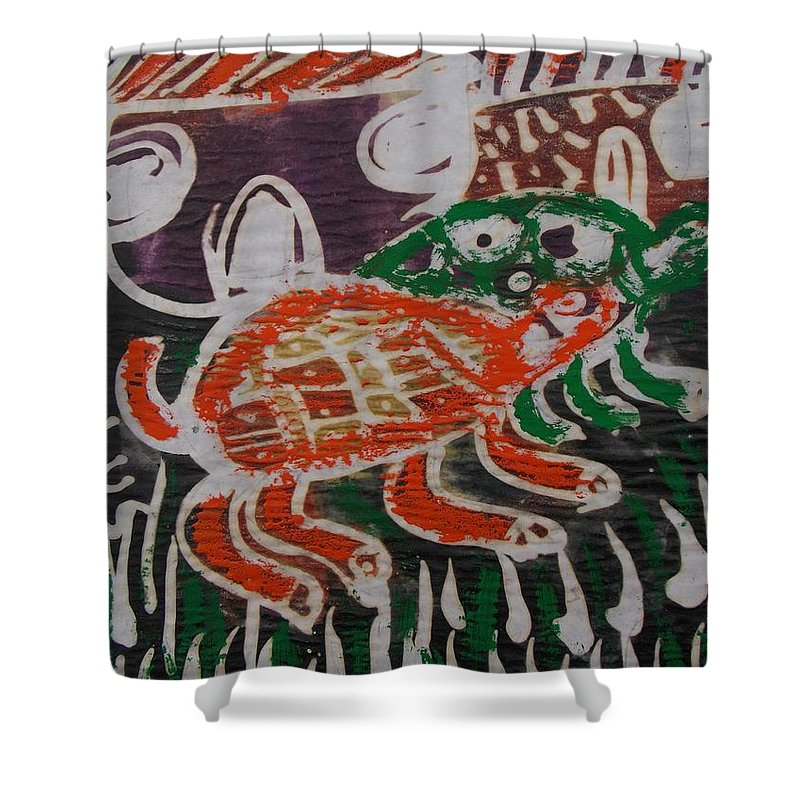 Red And Green Tortoise On The Way To Bush Shower Curtain featuring the painting Red And Green Tortoise On Their Way To Bush by Okunade Olubayo