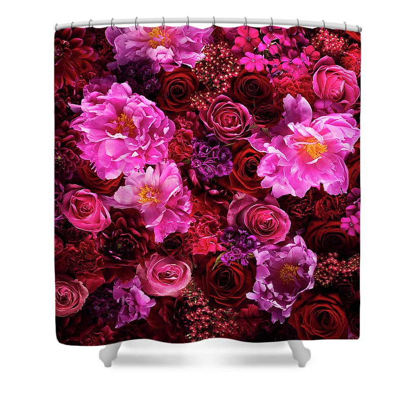 Tranquility Shower Curtain featuring the photograph Red And Pink Cut Flowers, Close Up by Jonathan Knowles