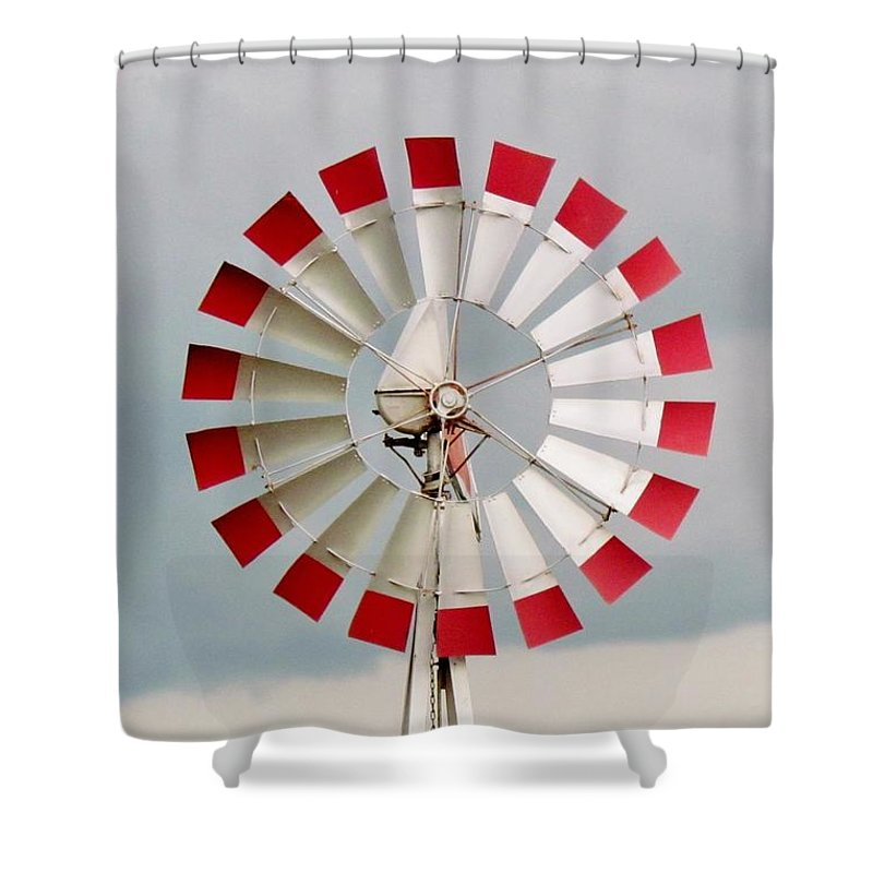 Red Shower Curtain featuring the photograph Red And White Windmill by Cynthia Guinn