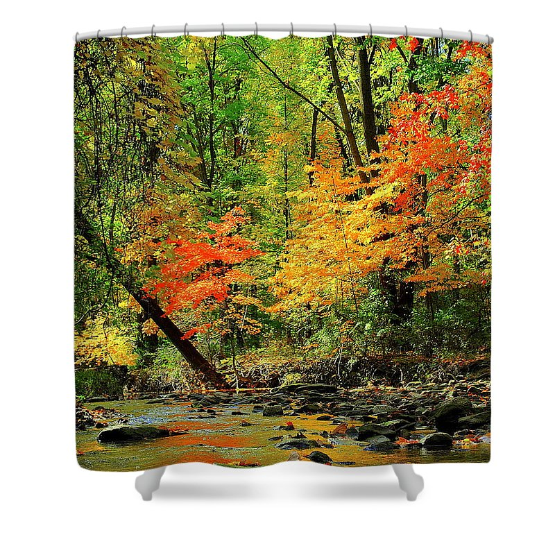 Red Shower Curtain featuring the photograph Red And Yellow Water Glow by Frozen in Time Fine Art Photography