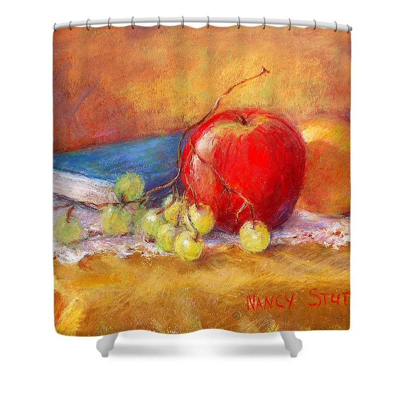 Prints Shower Curtain featuring the painting Red Apple by Nancy Stutes