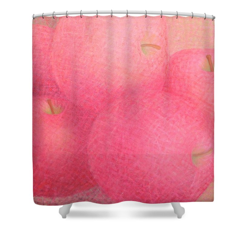 Big Shower Curtain featuring the painting Red Apples by Muntean Floare