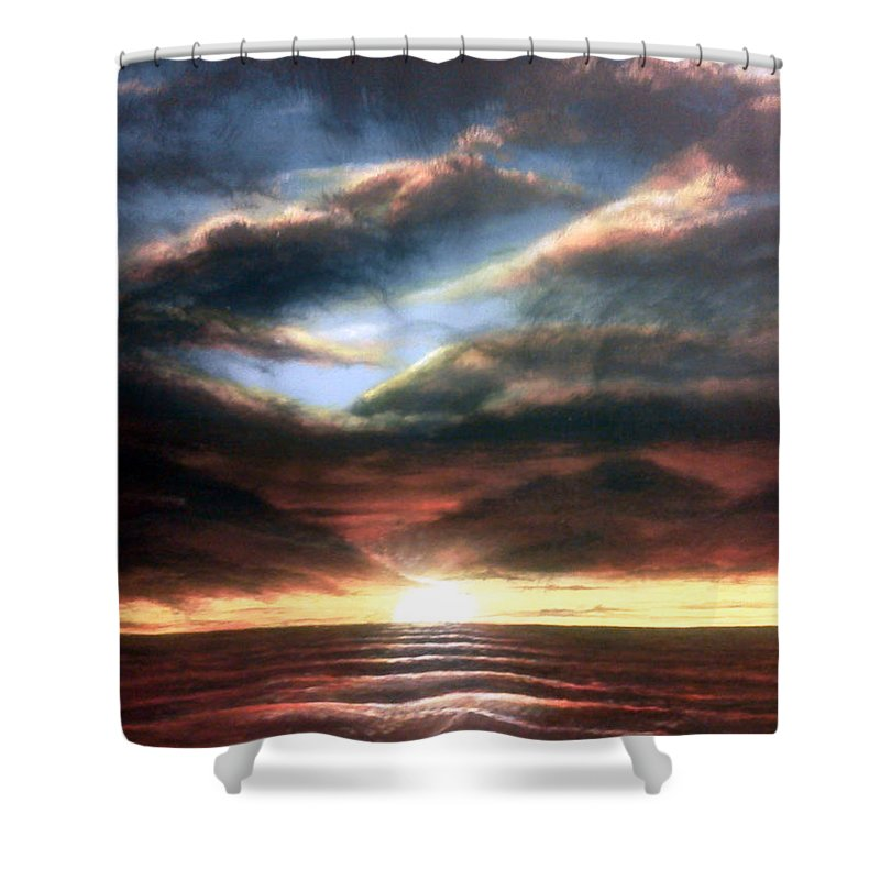 Autenrieb Shower Curtain featuring the painting Red At Night by Vincent Autenrieb