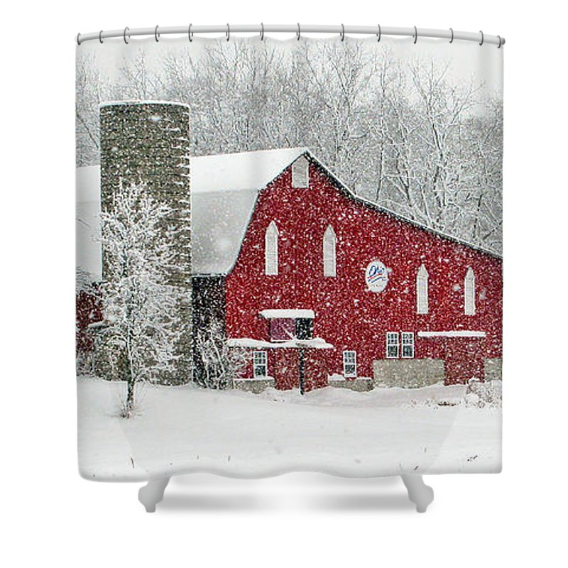 Red Barn Shower Curtain featuring the photograph Red Barn In Snow by Jack Schultz