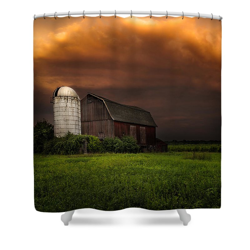 Red Barn Shower Curtain featuring the photograph Red Barn Stormy Sky - Rustic Dreams by Gary Heller