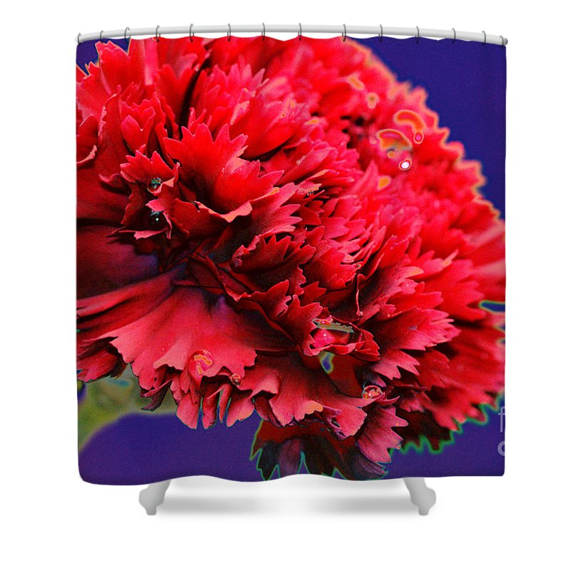 Red Shower Curtain featuring the digital art Red Beauty Carnation by Carol Lynch