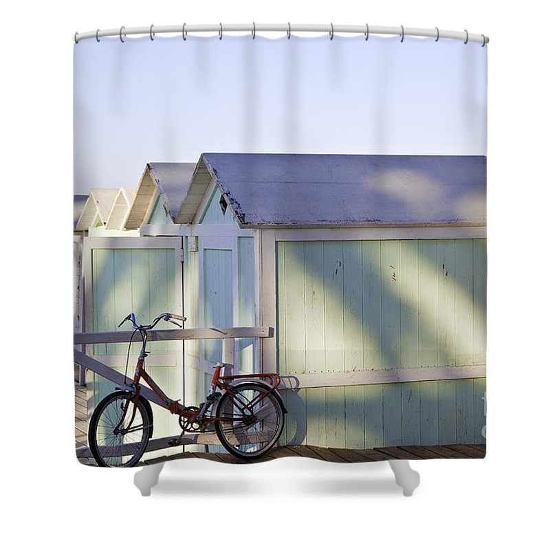 Cabana Shower Curtain featuring the photograph Red Bicycle At Mondello Beach by Madeline Ellis