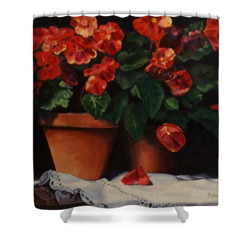 Terracotta Shower Curtain featuring the painting Red Bloom In Terracotta by Paul Tremlin
