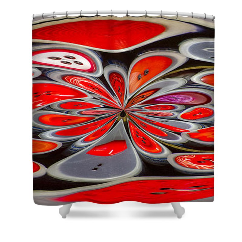 Button Shower Curtain featuring the photograph Red Button Orb by Jean Noren