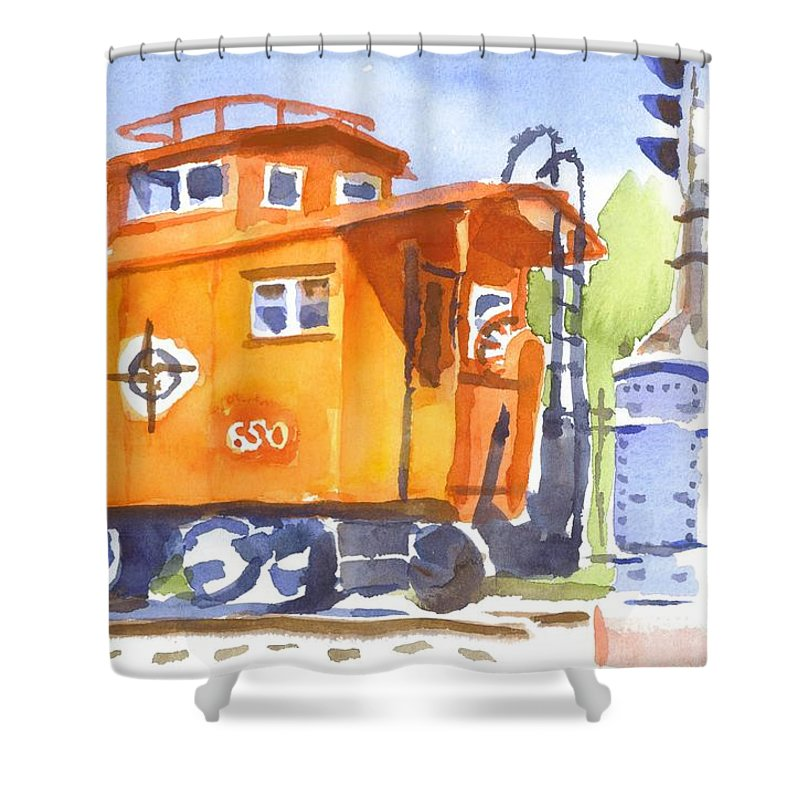 Red Caboose With Signal Shower Curtain featuring the painting Red Caboose With Signal by Kip DeVore