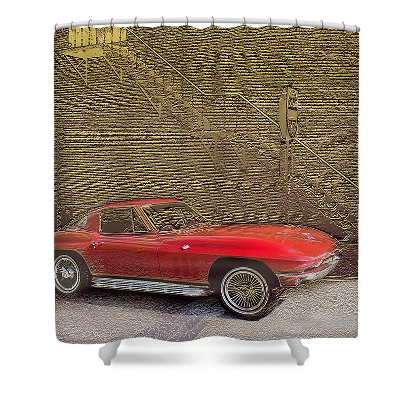 Cars Shower Curtain featuring the mixed media Red Corvette by Steve Karol