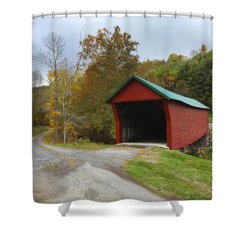 Bridge Shower Curtain featuring the photograph Red Covered Bridge by Amy Jackson