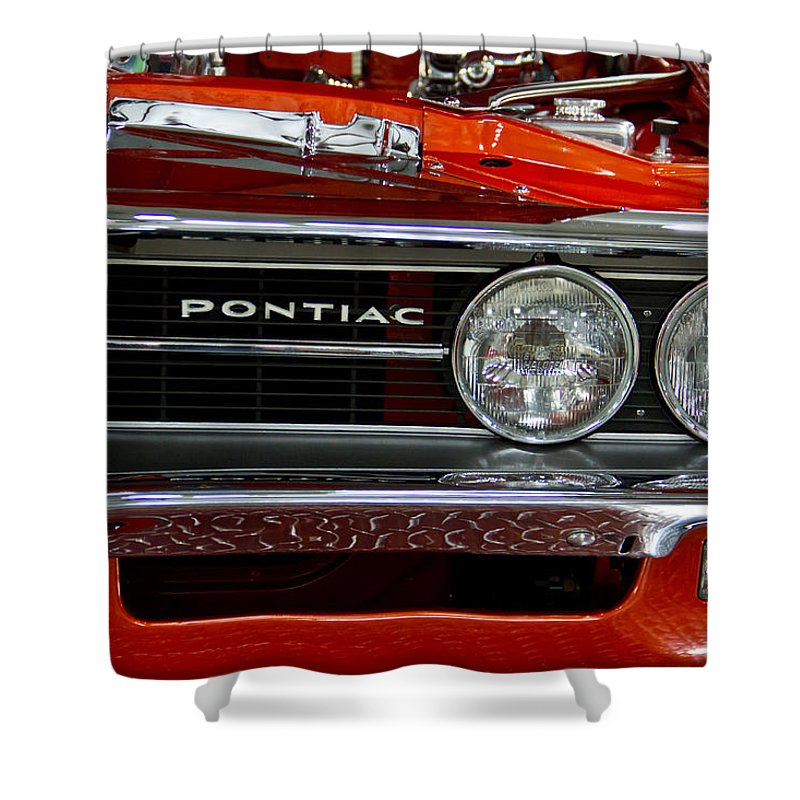 Customized Shower Curtain featuring the photograph Red Customized Retro Pontiac-front Left by Eti Reid