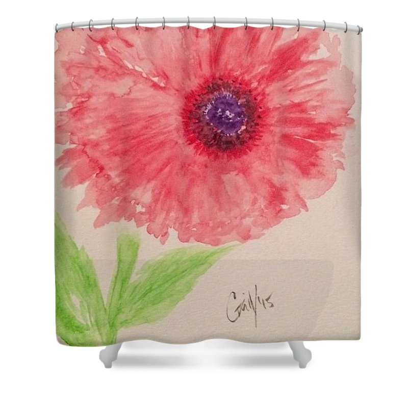Floral Shower Curtain featuring the painting Red Dahlia by Gail Nandlal