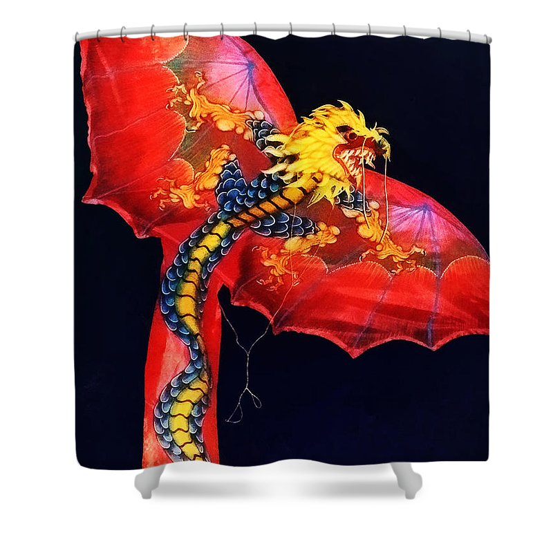 Kite Shower Curtain featuring the photograph Red Dragon Kite by Susan Savad