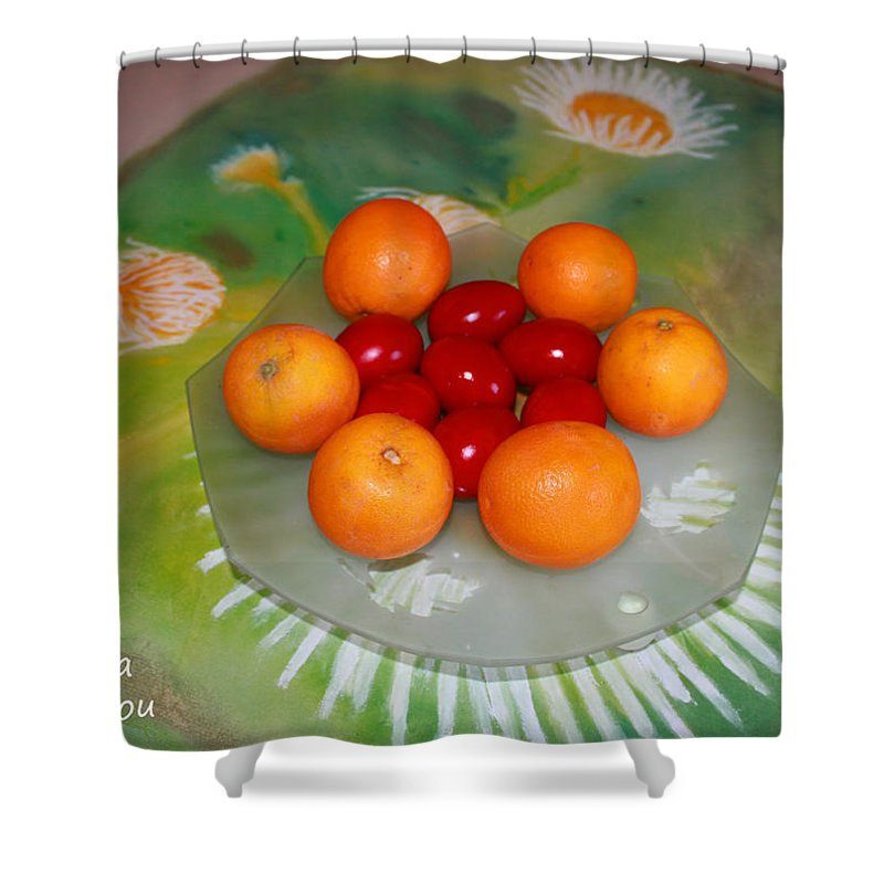 Augusta Stylianou Shower Curtain featuring the photograph Red Eggs And Oranges by Augusta Stylianou