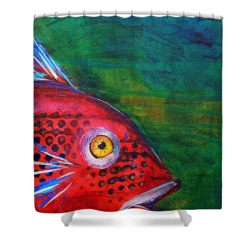 Abstract Shower Curtain featuring the painting Red Fish by Nancy Merkle