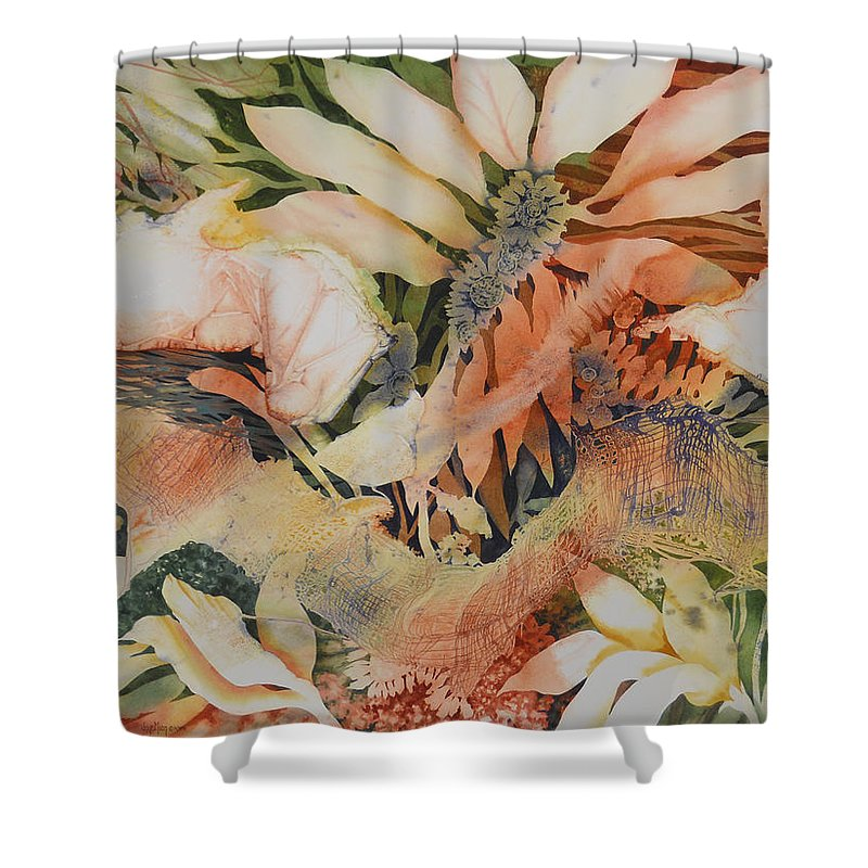 Abstraction Shower Curtain featuring the painting Red Floral by Joye Moon