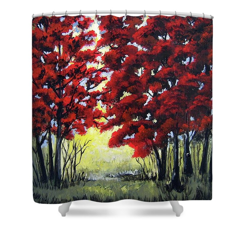 Trees Shower Curtain featuring the painting Red Forest by Suzanne Theis